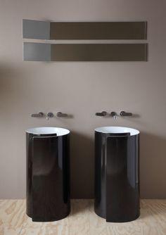 Doppelwaschbecken in Schwarz - Roll Bicolor von Flaminia