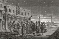 The first star party? Galileo shows off the sky in Saint Mark's square in Venice. Note the lack of adaptive optics. (Illustration in the Public Domain).