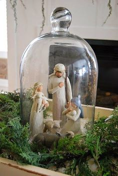 Lovely way to display the nativity at Christmas