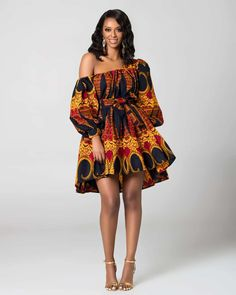 ankara mode Hot sale sexy africdresses for women african print clothing one shoulder dress African Fashion Ankara, African Inspired Fashion, African Print Fashion, Africa Fashion, Ankara Short Gown Styles, Short Gowns, Short Styles, Ankara Styles For Women, Ankara Gowns