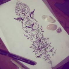 Esboço da querida Ale! 😍💕 #lionesstattoo #tattoo #taizane #lotustattoo #unalometattoo #ornamentaltattoo