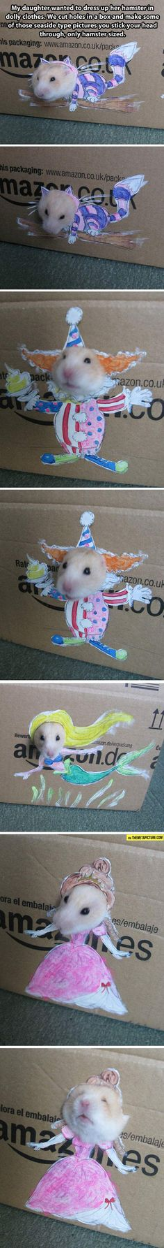 HAMSTER CLOTHES ~ what a clever idea this mom had for her daughter. It seems that she wanted to dress her hamster up in clothes and of course that's pretty impossible to do! So she and her mom created this clever idea. Such cute pictures!