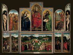 Jan van Eyck 1432. Het werk toont de aanbidding van het lam en links en rechts hiervan respectievelijk de rechtvaardige rechters en de ridders van Christus. De bovenste rij toont Adam, Maria, Christus (of toch God?), Johannes de Doper en Eva.  Het werk heeft al vanaf de Renaissance een enorme faam opgebouwd in de kunstwereld.