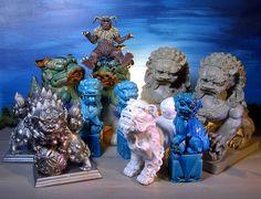 Ceramic Resin Decor Foo Dogs and Godzilla's King Caesar!