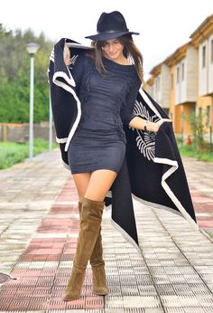 over the knee boots with dress and hat