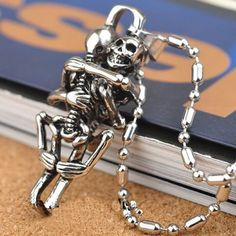 Silver Hug Stainless Steel Skull Necklace //Price: $7.95 & FREE Shipping //     #skull #skullinspiration #skullobsession #skulls