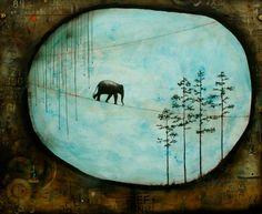 Nava Waxman: The Last Elephant- Mixed media, encaustic on wood panel