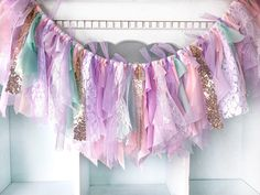 Current production time is 3 weeks. This banner has been very popular this month. Need it ASAP? RUSH MY BANNER! https://www.etsy.com/listing/556960724/rush-my-banner?ref=shop_home_active_1 White lace, pink and white chiffon, bubble gum pink fabric, lavender fabric, lavender polka