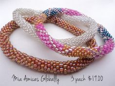 3 pack roll over the hand style beaded bracelet crocheted in Nepal A-7021