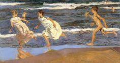 Joaquín Sorolla, Running along the beach, 1908, Museo de Bellas Artes de Asturias, Oviedo, oil on canvas from https://www.facebook.com/storiedellarte?fref=photo