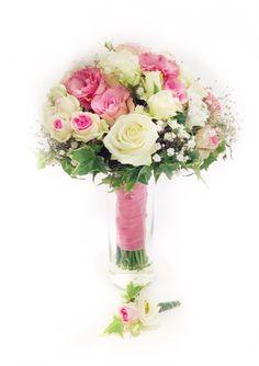 Brautstrauß rosa/ weiß mit Rosen, Eustoma und Efeu