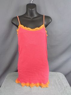 American Eagle Pink with Orange Lace Trim Tank Top Size Large | Clothing, Shoes & Accessories, Women's Clothing, Tops & Blouses | eBay!