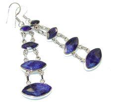$70.25 Fashion Royal Blue Sapphire Sterling Silver earrings at www.SilverRushStyle.com #earrings #handmade #jewelry #silver #sapphire