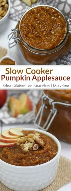 This Slow-Cooker Pumpkin Applesauce not only makes for the most delicious breakfast or snack when served with yogurt but it will also fill your home with a beautiful, flavors of Fall aroma. | healthy slow cooker recipes | healthy crockpot recipes | healthy applesauce recipes | how to make homemade applesauce | healthy pumpkin recipes | healthy fall recipes | paleo pumpkin recipes | gluten free pumpkin recipes | dairy free pumpkin recipes | unique applesauce recipes || The Real Food…