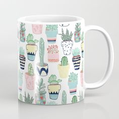 Available in 11 and 15 ounce sizes, our premium ceramic coffee mugs feature wrap-around art and large handles for easy gripping. Dishwasher and microwave safe, these cool coffee mugs will be your new favorite way to consume hot or cold beverages. Cute Coffee Mugs, Cool Mugs, Coffee Love, Tea Mugs, Coffee Cups, Painted Mugs, Hand Painted, Cute Cups, Cactus Decor