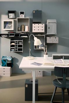 Gray, Studio, boxes, Wood, storage, organization, Clean, Clutter free, Hanging storage containers.