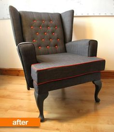 Before & After: A Washed-Up Wingback Gets a Fresh Start | Apartment Therapy | this chair turned out amazing! love the contrasting orange!