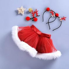 YiZYiF 2PCS Little Girls Toddlers Christmas Outfits Warm Velvet Clothes Tutu Belted Top With Striped Pants Set