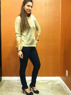 Gold sweater by Cecico with Black Flying Monkey Skinnies ~ Apricot Lane Boutique South Florida
