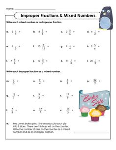 This free, printable worksheet gets students thinking about improper fractions and mixed numbers. The first half of the worksheet gets students convert mixed numbers to improper fractions, and the second half asks for vice versa. The worksheet finishes off with a word problem. Includes answer sheet. Read more at http://kidspressmagazine.com/cool-math/worksheets/fractions-2/improper-fractions-mixed-numbers.html#stRP5y7zAAqY0IFA.99 #math, #fractions, #printable, #worksheet