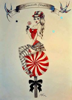 Anne Cha - peppermint lollipop pin-up girl tattoo art Pin Up Girl Tattoo, Pin Up Tattoos, Body Art Tattoos, Girl Tattoos, Rockabilly Art, Pinup Art, Dibujos Pin Up, Pin Up Girl Vintage, Drawn Art