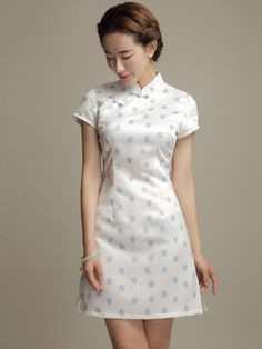 Sweet White Short Floral Qipao / Cheongsam Party Dress