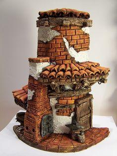 Risultati immagini per tejas decoradas Paper Clay, Clay Art, Kobold, Tile Crafts, Clay Houses, Clay Tiles, Miniature Rooms, Theme Noel, Fairy Doors