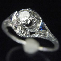 Art Deco Old European Cut Diamond Sapphire 18k White Gold Engagement Ring by sohojewelers on Etsy