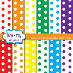 rainbow polka dots scrapbook papers by lane + may on Etsy, $4.00