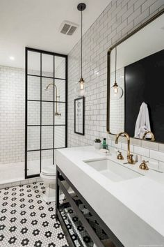 Jorie Martin saved to home Awesome Black And White Subway Tiles Bathroom Design Creative Industrial Bathroom Renovation Ideas To Nail Your Home White Subway Tile Bathroom, Black White Bathrooms, Black And White Master Bathroom, White Bathroom Tiles, Black And White Interior, Victorian Tiles Bathroom, Black And White Flooring, 1930s Bathroom, Bathroom Flowers