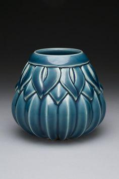 Striped Leaf Motif Ceramic Vase