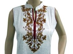 Amazon.com: White Tunic Top Embroidery Cotton Designer Kurti Dress for Women Extara Small Size: Clothing