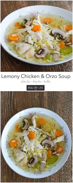 Lemony Chicken and Orzo Soup is a healthy, light and fresh soup that is ready in 20 minutes.  Loaded with sauteed vegetables, herbs, gluten free orzo pasta and shredded chicken makes this soup wholesome, satisfying and delicious. Gluten free, dairy free, and soy free. - A Healthy Life For Me