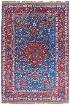 Original condition antique Isfahan rug. Persian, circa 1910. 231 x 152 cm (92½ x 60 in) Woven on a rare silk foundation with silk highlights in the main field.