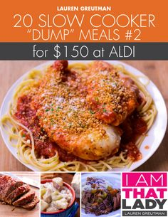 """Aldi Meal Plan - 20 Slow Cooker """"Dump"""" Meals for under $150! Spend $8.97 for the plan and all of your meal planning is DONE for the next month!"""