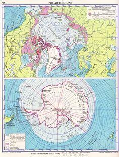 Polar Regions map ARCTIC CIRCLE, ANTARCTICA North Pole South Pole