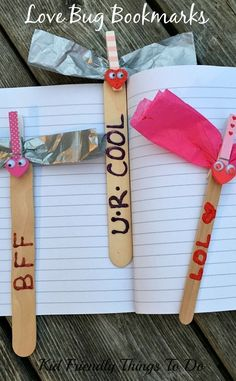 Love Bug Valentine Bookmark Craft - http://KidFriendlyThingsToDo.com