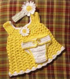 sweet little yellow dress with matching diaper cover and headband