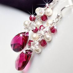 Ruby Red Bridesmaid Earrings. Long Crystal Teardrop & Pearl Wedding Earrings. Crystal and Ivory Pearl Cluster Drop Jewellery