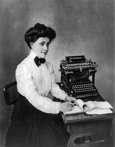 Ms. Remington Typewriter Portrait  #artforhome #blackandshitephotos #oldpictures #blackandwhiteart #wallcollections #vintagepictures #history #vintagephotos #historicalpix #oldphotos