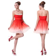 Girls Fashion Ombre RED Short Mini Bridesmaid Party Prom Dresses Ball Gown 03579 | eBay