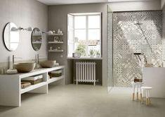 Arredare il bagno con le cementine - Piastrelle cementine per la doccia - Marazzi blocks, porcelain stoneware and cement tiles, to furnish the bathroom with a vintage touch.