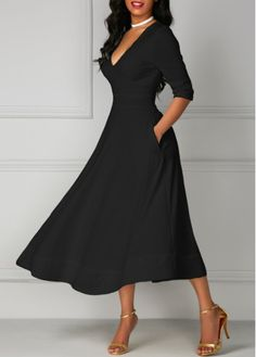 Pocket Design Black Plunging V Neck Half Sleeve Party Club Fashion Midi Dress, faster shipping and free shipping worldwide, don't wait.
