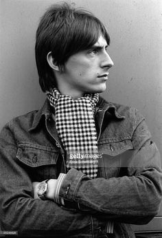 Paul Weller of The Jam poses for portraits on the roof of AIR studios on Oxford Circus during recording sessions for their album The Gift, London, circa January 1982.
