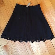 NEWLoft Eyelet Scalloped Edge Skirt NEWLoft Eyelet Scalloped Edge Skirt. Black with back zipper and liningno tradeno hold LOFT Skirts