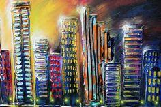 48 x 24 ciudad ORIGINAL la pintura colorida abstracta TEXTURED