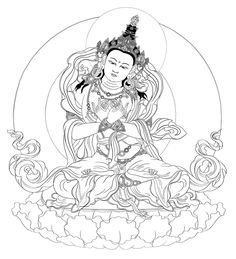 The Bodhisattva Vajradhara is the holder of the diamond-like Buddha nature. He is the primordial Buddha, before thought, concepts, or even religion. Colouring Pics, Coloring Pages, Tibet Art, Buddha Tattoos, Thangka Painting, Asian Tattoos, Thai Art, Buddha Art, Korean Art