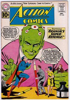 Brainiac turns Superman & his friends into living trophies, Action Comics cover, art by Curt Swan Action Comics 1, Dc Comics Art, Dc Comic Books, Comic Book Covers, Superman Comic, Comic Superheroes, Superman Stuff, Superman Family, Batman