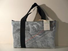 BAG BY HAND  black and white optical texture Fabric