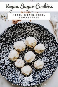 These are the easiest sugar free vegan sugar cookies you will ever make. Their secret ingredient is monk fruit and is completely keto diet friendly. Vegan Sugar Cookie Recipe, Sugar Free Vegan, Cookie Recipes, Dessert Recipes, Vegan Recipes Plant Based, Vegan Desserts, Vegan Food, Diet Breakfast, Sweet Treats